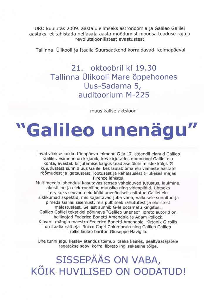 Locandina TALLIN 21/10/2009